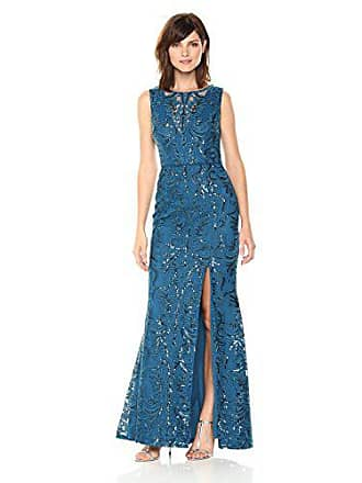 Adrianna Papell Womens Sequin Scroll Long Dress, Evening Sky, 4