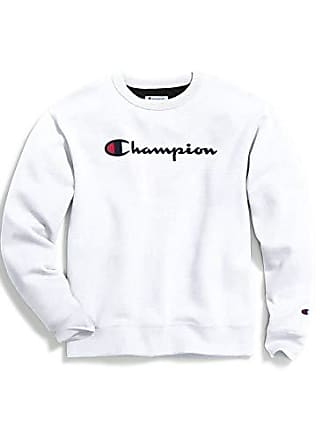 Champion Mens Graphic Powerblend Fleece Crew, White, X-Large