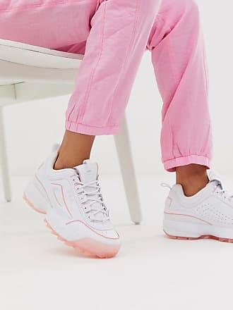 Fila Disruptor II - Weiße Sneaker mit Sohle in Eisrosa