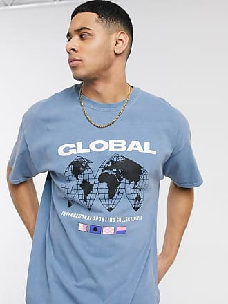 New Look T-shirt oversize blu medio con stampa Global