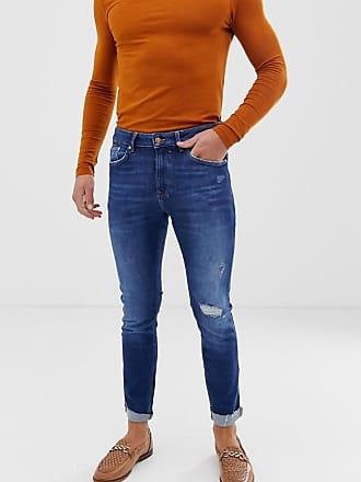 943b67874c9c Bershka Join Life - Enge Jeans in Mittelblau mit Zierrissen am Knie und  Abnutzungen - Blau