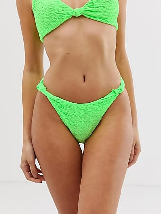 8d99caf9c4182 Asos texture knot minimal high leg hipster bikini bottom in neon green