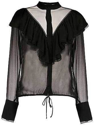 Andrea Bogosian Camisa transparência com babados - Preto