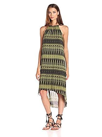 Kensie Womens Linear Ikat Dress, Olive Combo, Large