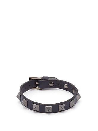 Valentino Rockstud Leather Bracelet - Mens - Navy