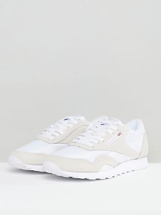 Reebok Classic Leather Nylon Sneakers In White 6390 - White c5dc6dd73