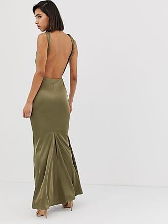 4a728d85812 Asos halter neck maxi dress with fishtail skirt - Green
