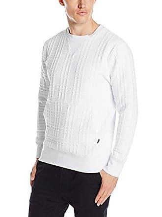 Zanerobe Mens Quilted Crew Sweatshirt, White Quilt, Small