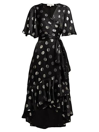 Diane Von Fürstenberg Sareth Polka Dot Silk Blend Wrap Dress - Womens - Black Silver