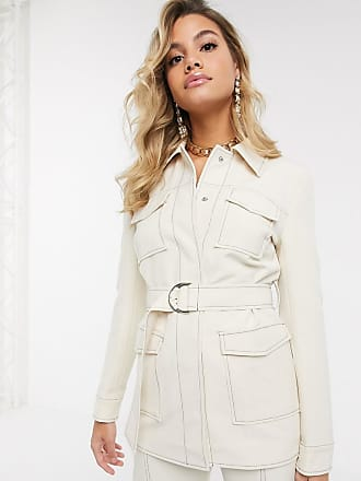 4th & Reckless belted suit blazer with contrast stitching in cream-White