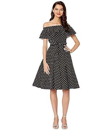 Unique Vintage Off-Shoulder Ruffle Nashville Swing Dress (Black/White Dot) Womens Dress