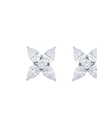 Fantasia Sterling Silver Marquise Cut Flower Button Earrings