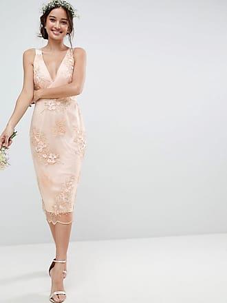 Asos Vestito longuette in delicato pizzo con fiori ricamati - Multicolore 34ebf561527