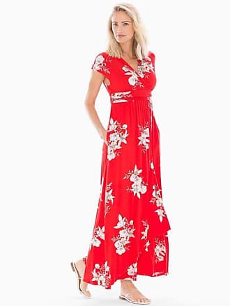 Soma Soft Jersey Sleeveless Maxi Dress Lush Tropic Poppy Red, Size XXL