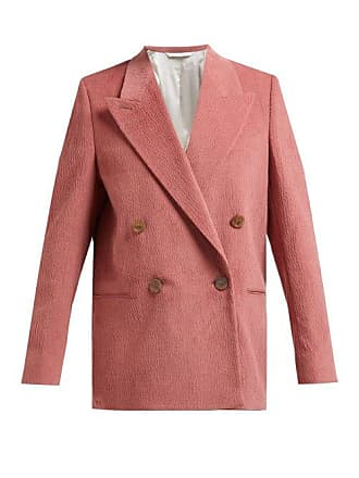 Acne Studios Double Breasted Slubbed Cotton Blend Blazer - Womens - Light Pink