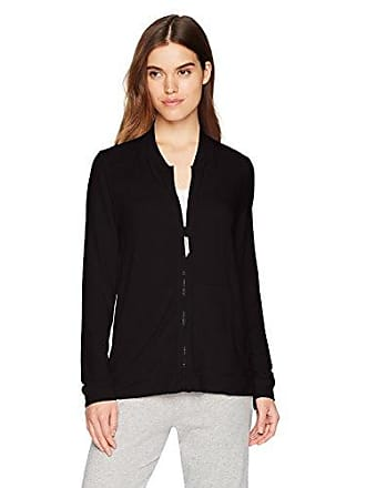 Hue Womens Solid French Terry Long Sleeve Zip Front Lounge Jacket, Black, Small