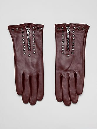 Barneys Real Leather Gloves With Zip And Studs - Red