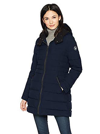 Nautica Womens 3/4 Stretch Packable Down Jacket with Hood, Navy Seas, Extra Small