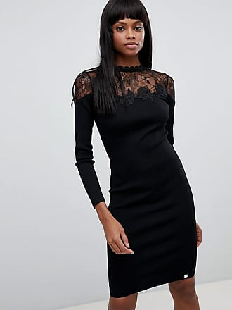 Lipsy Lace Detail Long Sleeved Knitted Midi Dress - Black