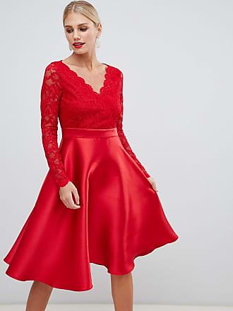 f30f14164256 City Goddess Vestito da cerimonia con maniche in pizzo - Rosso
