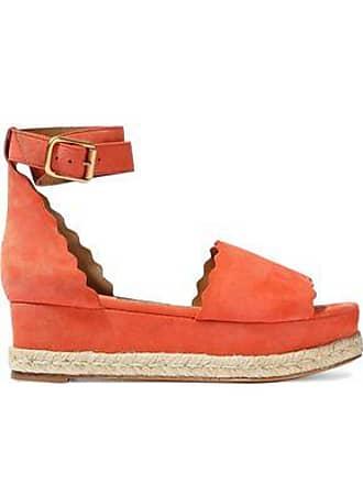 Chloé Chloé Woman Lauren Scalloped Suede Platform Espadrille Sandals Coral Size 35