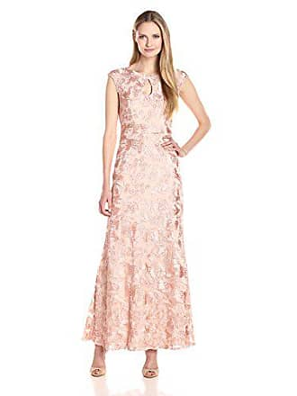 Alex Evenings Womens Long A-Line Rosette Dress with Short Sleeves Sequin Detail, Peach, 10