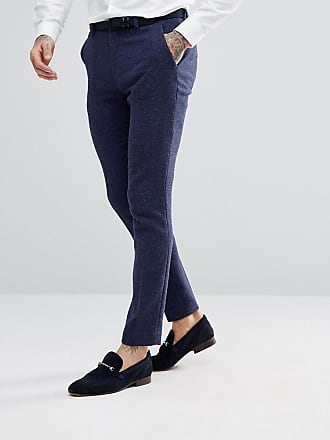 Asos wedding super skinny suit pants in blue micro check - Blue