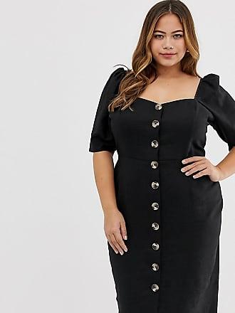 Asos Curve ASOS DESIGN Curve linen button through midi dress with sweetheart neckline-Black