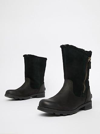 60d6dcc5e762d0 Sorel Emelie Black Leather Waterproof Foldover Boots - Black