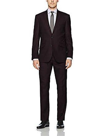 Kenneth Cole Reaction Mens Slim Fit Unfinished Hem Suit, Dark Burgundy, 40 Regular