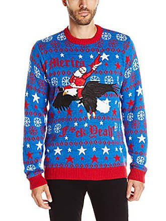 Blizzard Bay Mens Merica Santa Ugly Christmas Sweater, Red/White/Blue, X-Large