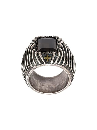 Tobias Wistisen Cross etched ring - Preto