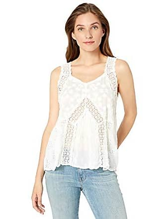 Johnny Was Womens Lace Trim Embroidered Tank, White, XS