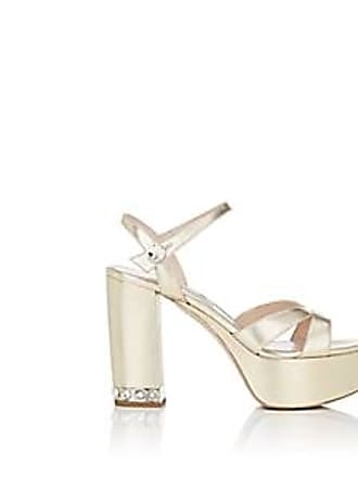 1cce28f12 Miu Miu Womens Metallic Leather Ankle-Strap Platform Sandals - Gold Size 10