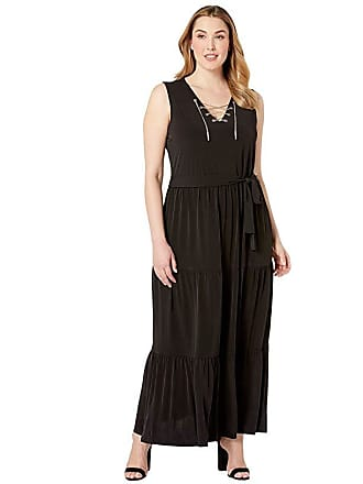 07f0641ee0 Michael Kors Plus Size Chain Lace-Up Maxi Dress (Black) Womens Dress