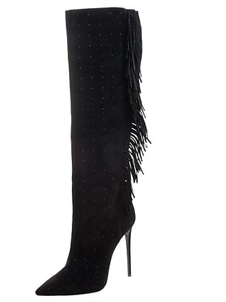 a427344caa20d 1stdibs Le Silla Black Fringed Suede Tiny Velour Knee Length Boots Size 38.5