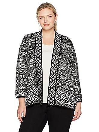 Ruby Rd. Womens Plus-Size Band-Collar Stripe Jacquard Sweater Cardigan, Grey Heather Multi, 3X