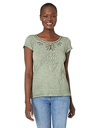 Tribal Womens Cap Sleeve Embroidered Tee, Khaki Green, X-Large