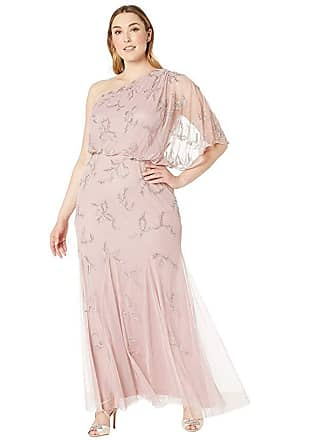 867b1a82812 Adrianna Papell Plus Size One Shoulder Beaded Evening Gown (Petal) Womens  Dress