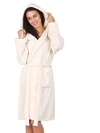 6e4cb2fb04 Decoking Bathrobe L Short Women Men Unisex Hooded Dressing Gown Microfibre  Soft Snug Cosy Fleece Cream