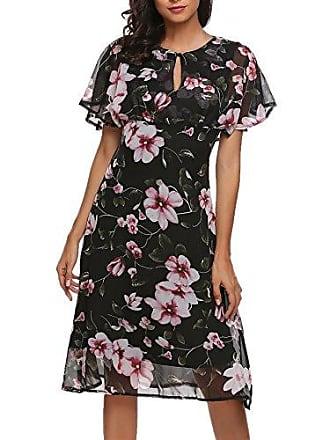a59e61ff0537f7 Meaneor Damen Elegant Chiffonkleid Strandkleid Blumenkleid Abendkleid mit  Blumen Muster Knielang Festlich