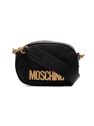 Moschino black logo leather camera bag