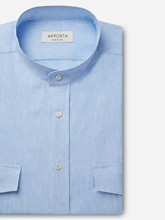Apposta Camicia tinta unita celeste lino tela, collo stile coreana