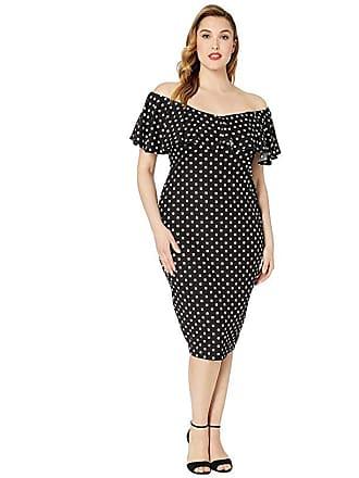Unique Vintage Plus Size Ruffle Sophia Wiggle Dress (Black/White Polka Dot) Womens Dress