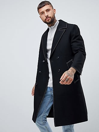 cc1794e96cb Asos wool mix double breasted overcoat in black - Black