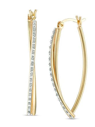 511734f8b Zales Diamond Fascination Geometric Hoop Earrings in Sterling Silver with  18K Gold Plate