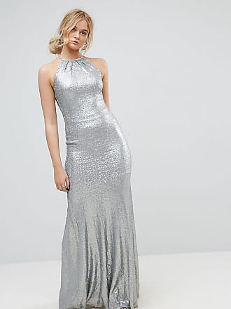 0e6f0a0d4b Tfnc Tall Allover Sequin Maxi Dress With Strappy Back - Silver