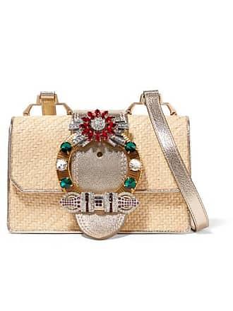 Miu Miu Miu Lady Embellished Raffia And Textured-leather Shoulder Bag - Gold 35eb7d6c57ef7