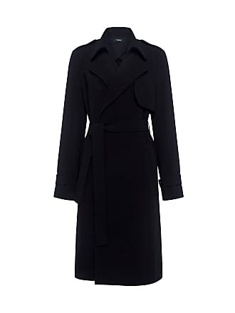 Theory OAKLANE Crepe Trench Coat Black