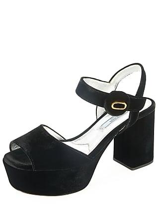 3a53d1054089 Prada Quarter-Strap Velvet Platform Sandal